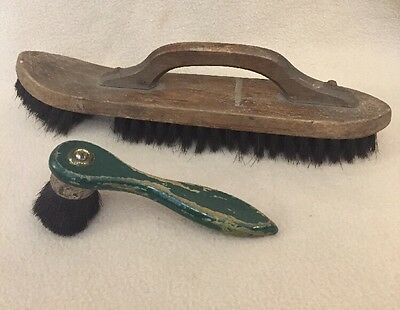 Pair Of Primitive Antique Wooden Shoeshine Brushes Horsehair