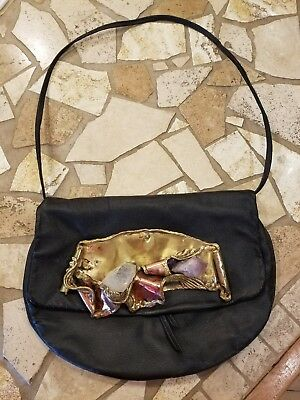 Vintage~Leather~Purse~black Brass and stone~Made in Brazil~