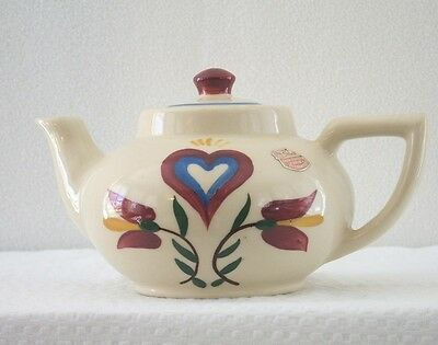 Vintage Shawnee Pennsylvania Dutch Teapot #18 Tulips & Heart Usa