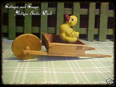 Antique Primitive Toy Chalkware Duck Coil Springs in Vtg Wood Wheelbarrow aafa