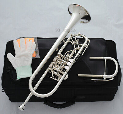 Professional Silver Plated Rotary Valve Trumpet B-Flat Upper Register Key New