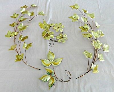 Lot of 4 Goldtone Metal Leaves Hummingbird Wall Accents HOMCO Home Interiors