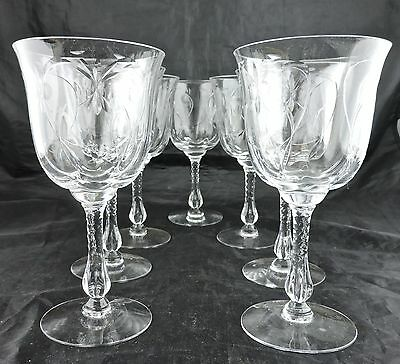 Antique Wine/water Fine Cut Glass Or Crystal Set 6 Stemware Optic Base