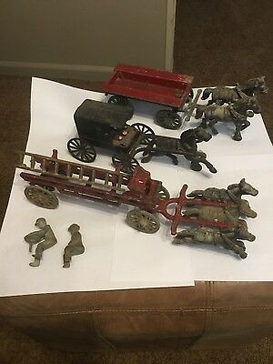 Lot of Antique Cast Iron Toys Stanley Fire Wagon And Others