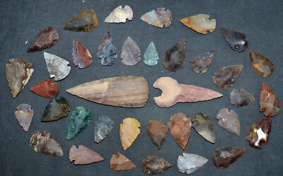 """37 PC Flint Arrowhead Ohio Collection Points 1-3"""" Spear Bow Knife Hunting Blade"""