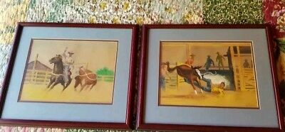 WESTERN RODEO COWBOY Artist Lutzow Signed Watercolors c876eb236f03
