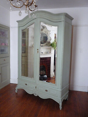 Painted Louis XV Double Mirror Door French Armoire Wardrobe Cupboard