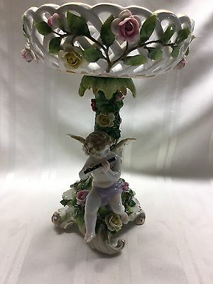 "1930s Von Schierholz Porcelain Compote - Cherub Playing Flute - 10"" - Germany"
