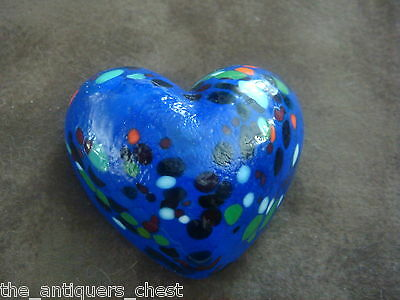 """Signed paperweight heart shaped,  Hand Blown 2"""" [2-PW]"""