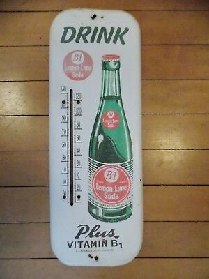 B-1 Lemon Lime Soda advertising tin sign thermometer WORKS! old vintage large