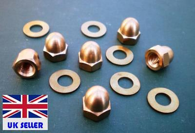 M6 Brass Dome Nuts and Washers Pk of 6 for instruments or steampunk