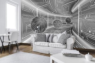 Photo Wallpaper Mural 10079 P 3d Gray Tunnel With Spheres Abstraction Abstract
