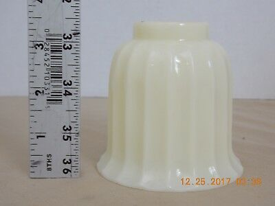 Vintage Cut Glass Cream Color Light Globe Shade Diffuser Ribbed Flared Tulip