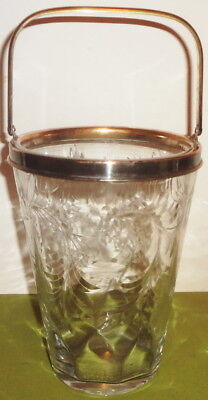 ORNATE e1900's Signed HAWKES #7375-1 gravic CUT GLASS ICE BUCKET-HAWKES MOUNTING