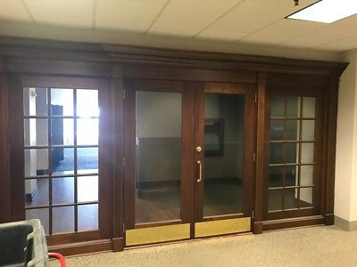 Mahogany Entryway Double Doors w/ Sidelights and all Trim - Rockwood