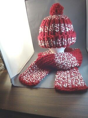 Hand Knitted Child Tassel Hat And Scarf