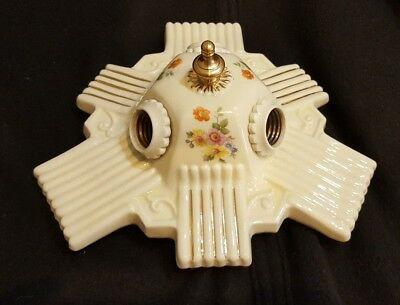 Vintage PORCELIER 3-Bulb Porcelain Ceiling Light Fixture, New Wiring, Guaranteed