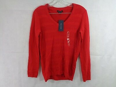 Tommy Hilfiger Women's Red V Neck Pull Over Sweater Size Small NWT