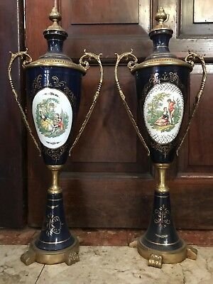 Pair Vintage French Museum Sevres Style Reproduction Bronze Ormolu Vases