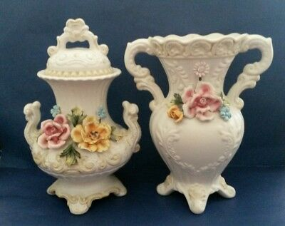 Vintage Norleans Capodimonte Italy Vase & Lidded Urn Set Pair