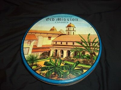 """Vintage Antique 10"""" OLD MISSION CANDIES Metal Tin Box California Arts/Crafts"""