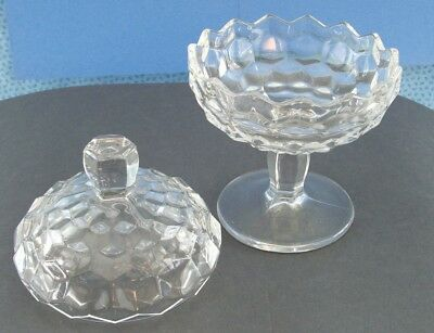 Fostoria American Candy / Nut Covered Dish With Stem Base