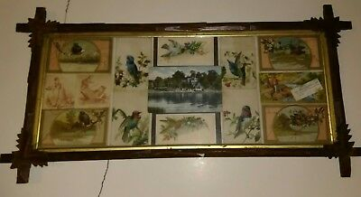 VINTAGE c 1890-1900. Arts and crafts frame w tradecards postcards Danbury CT pc