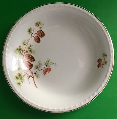 Taylor Smith Taylor USA TST 1649 Pine Cone Green Leaves Red Berry Soup/Cereal