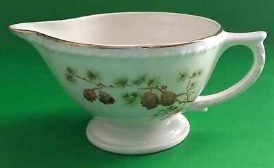 Taylor Smith Taylor USA TST 1649 Pine Cone Green Leaves Red Berry Creamer