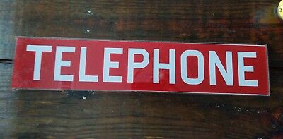 "Vintage 22 1/2"" x 4 11/16"" Telephone Phone Booth Insert Panel Glass SIGN Red"