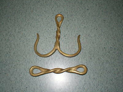 2 Vintage Brass Hangers Hooks Decorative Twisted Wire