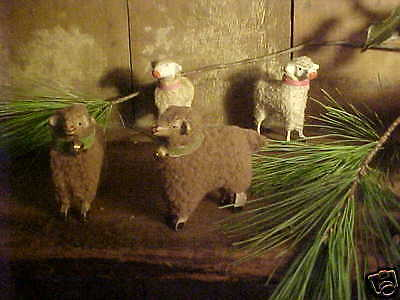 Brown Woolly Xmas Putz Sheep Stick Legs & Bell Primitive Old Vtg Style 2 1/2""