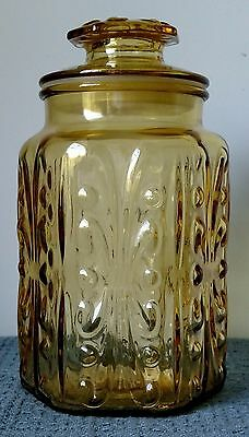 """Imperial Glass ~ """"Atterbury Scroll"""" ~ 9"""" AMBER / GOLD GLASS CANISTER with LID"""