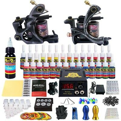 Complete Tattoo Machine Kit 2 Pro Guns 28 Inks Power Supply Foot Pedal Needles