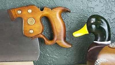 "Vintage Disston No. 7 Hand Saw, 24"" Long Plate, Pre 1928, 9 Point Crosscut"