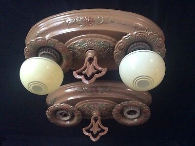 Vintage Pair Art Deco 2 Bulb Ceiling Light Fixtures 1930s Polychrome Antique.
