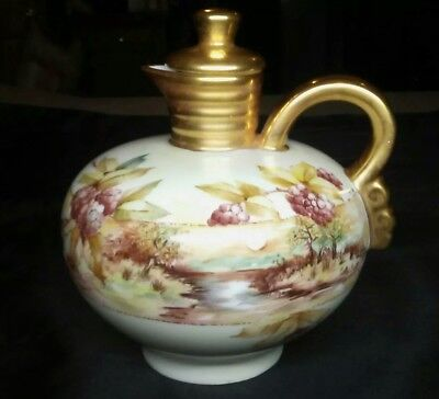 Hand Painted Porcelain Wine Jug With Corked Stopper Signed by Artist Antique