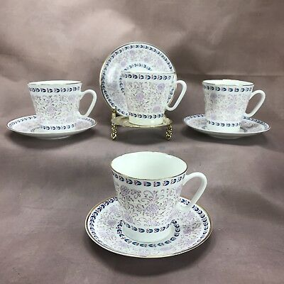 (4) Russian USSR Imperial Lomonosov Puce Flowers Blue & Gold Demitasse Cup Sets