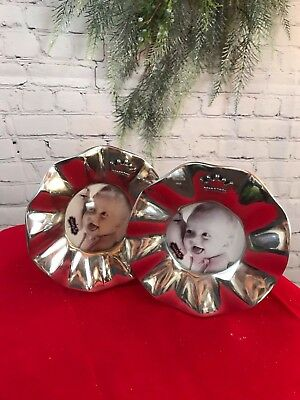 Mud Pie Silver Ruffled Circle Frame with Crown For Baby Boy or Girl Nursery NEW