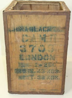 Vintage Large Wooden China Black Tea Shipping Chest Crate Storage Decor Box