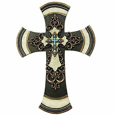 "11 1/2"" Decorative Tuscan Wall Cross Layered Scrolly Fleur De Lis Faux Turquoise"