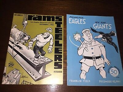 Lot of 2 1960's Eagles Giants Steelers Rams NFL Vintage Football Game Programs