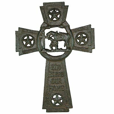 "Praying Cowboy ""God Bless Our Home"" Cast Iron Cross"