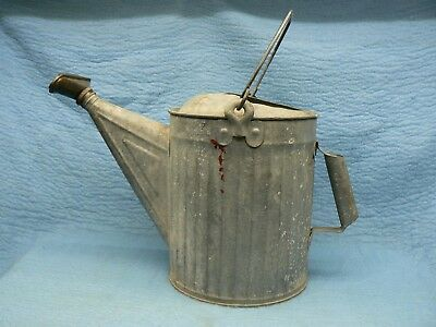 Vintage Galvanized Metal Watering Can with Brass Sprinkler Nozzle