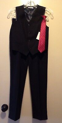 IZOD Boys Dress Pants and Vest-Black size 14 - plus Clip-on Tie