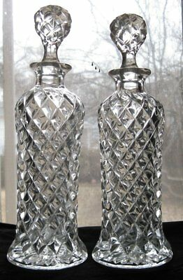 Antique Set of Two Heisey Pillows Pattern Glass Liquor Decanters
