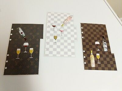 louis vuitton mm agenda sized set of 3tab dividers wine theme