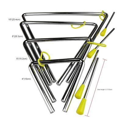 """4""""/6""""/8""""/10"""" Rhythm Steel Triangle Beater Musical instruments with Stick MA"""