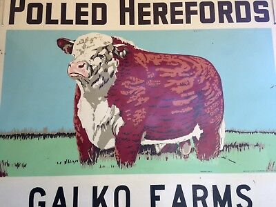 Polled Herefords Vintage Sign 4' Double Sided    WE WILL SHIP