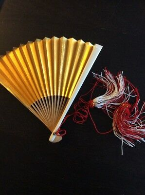 sensu shiny gold silver white Japanese fan tassel red  bamboo made in Japan